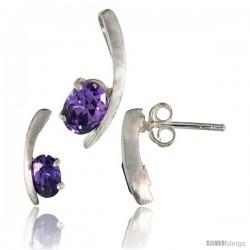 Sterling Silver Fancy Kink Earrings (12mm tall) & Pendant (16mm tall) Set, w/ Oval Cut Amethyst-colored CZ Stones