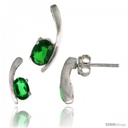 Sterling Silver Fancy Kink Earrings (12mm tall) & Pendant (16mm tall) Set, w/ Oval Cut Emerald-colored CZ Stones