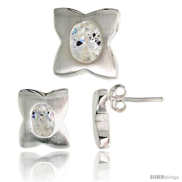 https://www.silverblings.com/17749-thickbox_default/sterling-silver-matte-finish-four-finger-clover-flower-earrings-12mm-tall-pendant-slide-13mm-tall-set-w-oval-cut-cz.jpg