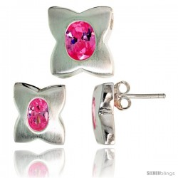 Sterling Silver Matte-finish Four-finger Clover Flower Earrings (12mm tall) & Pendant Slide (13mm tall) Set, w/ Oval Cut Pink