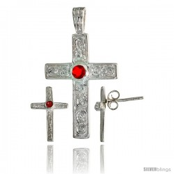 Sterling Silver Swirl-designed Latin Cross Earrings (16mm tall) & Pendant (28mm tall) Set, w/ Bezel Set Brilliant Cut