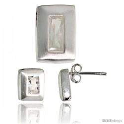 Sterling Silver Matte-finish Rectangular Earrings (9mm tall) & Pendant Slide (14mm tall) Set, w/ Emerald Cut CZ Stones