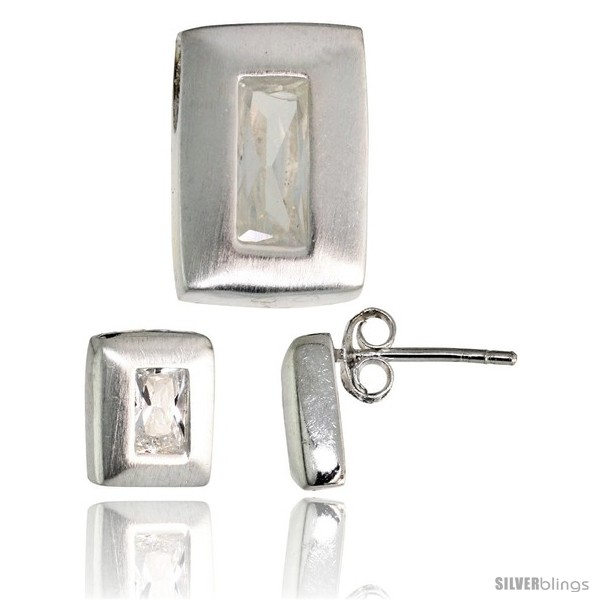 https://www.silverblings.com/17763-thickbox_default/sterling-silver-matte-finish-rectangular-earrings-9mm-tall-pendant-slide-14mm-tall-set-w-emerald-cut-cz-stones.jpg