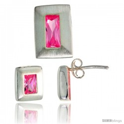 Sterling Silver Matte-finish Rectangular Earrings (9mm tall) & Pendant Slide (14mm tall) Set, w/ Emerald Cut Pink