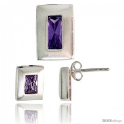 Sterling Silver Matte-finish Rectangular Earrings (9mm tall) & Pendant Slide (14mm tall) Set, w/ Emerald Cut Amethyst-colored