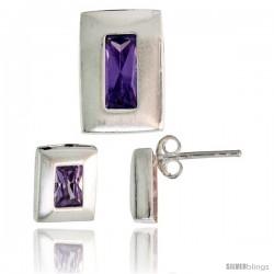 Sterling Silver Matte-finish Rectangular Earrings (9mm tall) & Pendant Slide (14mm tall) Set, w/ Emerald Cut Amethyst-colored