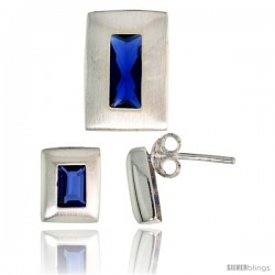 Sterling Silver Matte-finish Rectangular Earrings (9mm tall) & Pendant Slide (14mm tall) Set, w/ Emerald Cut Blue