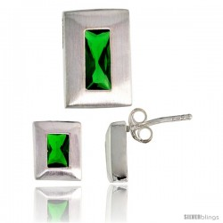 Sterling Silver Matte-finish Rectangular Earrings (9mm tall) & Pendant Slide (14mm tall) Set, w/ Emerald Cut Emerald-colored CZ