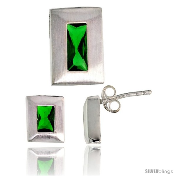 https://www.silverblings.com/17773-thickbox_default/sterling-silver-matte-finish-rectangular-earrings-9mm-tall-pendant-slide-14mm-tall-set-w-emerald-cut-emerald-colored-cz.jpg