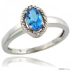 Sterling Silver Diamond Halo Natural Swiss Blue Topaz Ring 0.75 Carat Oval Shape 6X4 mm, 3/8 in (9mm) wide