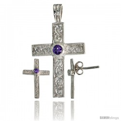 Sterling Silver Swirl-designed Latin Cross Earrings (16mm tall) & Pendant (28mm tall) Set, w/ Bezel Set Bril -Style Set4