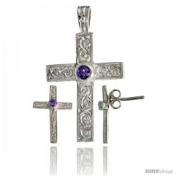 Sterling Silver Swirl-designed Latin Cross Earrings (16mm tall) & Pendant (28mm tall) Set, w/ Bezel Set Bril -Style Set4