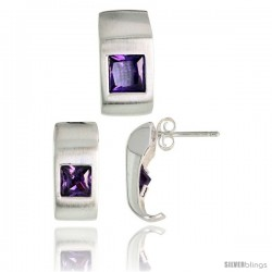 Sterling Silver Matte-finish Fancy Earrings (16mm tall) & Pendant Slide (17mm tall) Set, w/ Princess Cut Amethyst-colored CZ