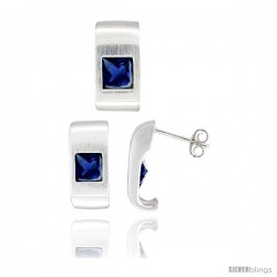 Sterling Silver Matte-finish Fancy Earrings (16mm tall) & Pendant Slide (17mm tall) Set, w/ Princess Cut Blue Sapphire-colored