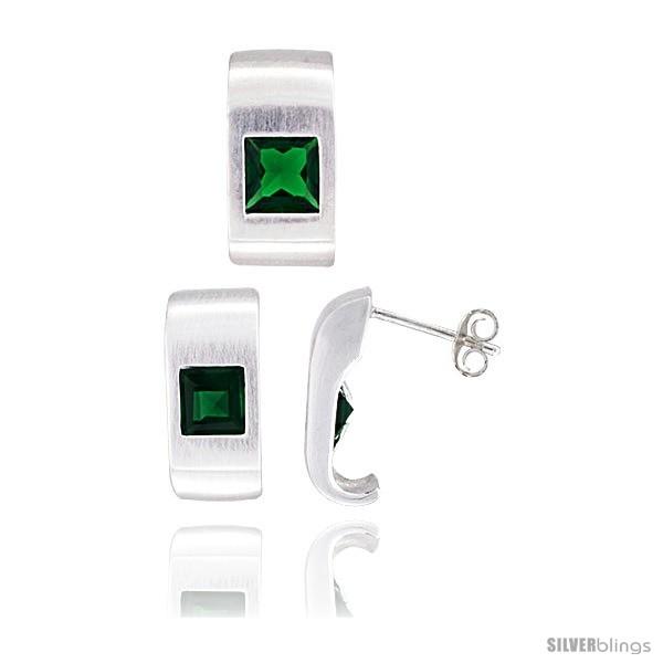https://www.silverblings.com/17787-thickbox_default/sterling-silver-matte-finish-fancy-earrings-16mm-tall-pendant-slide-17mm-tall-set-w-princess-cut-emerald-colored-cz.jpg