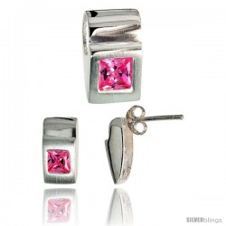 Sterling Silver Matte-finish Fancy Earrings (11mm tall) & Pendant Slide (15mm tall) Set, w/ Princess Cut Pink