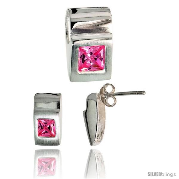 https://www.silverblings.com/17791-thickbox_default/sterling-silver-matte-finish-fancy-earrings-11mm-tall-pendant-slide-15mm-tall-set-w-princess-cut-pink.jpg
