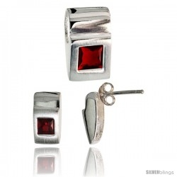 Sterling Silver Matte-finish Fancy Earrings (11mm tall) & Pendant Slide (15mm tall) Set, w/ Princess Cut Ruby-colored CZ Stones