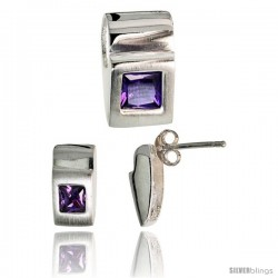 Sterling Silver Matte-finish Fancy Earrings (11mm tall) & Pendant Slide (15mm tall) Set, w/ Princess Cut Amethyst-colored CZ