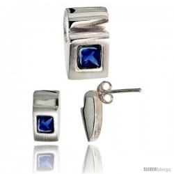 Sterling Silver Matte-finish Fancy Earrings (11mm tall) & Pendant Slide (15mm tall) Set, w/ Princess Cut Blue Sapphire-colored
