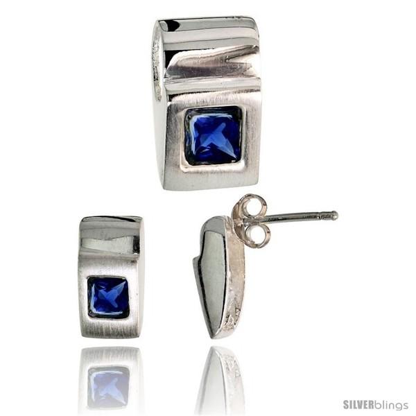 https://www.silverblings.com/17797-thickbox_default/sterling-silver-matte-finish-fancy-earrings-11mm-tall-pendant-slide-15mm-tall-set-w-princess-cut-blue-sapphire-colored.jpg