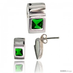 Sterling Silver Matte-finish Fancy Earrings (11mm tall) & Pendant Slide (15mm tall) Set, w/ Princess Cut Emerald-colored CZ