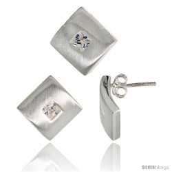 Sterling Silver Matte-finish Square-shaped Earrings (15mm tall) & Pendant Slide (15mm tall) Set, w/ Princess Cut CZ Stones