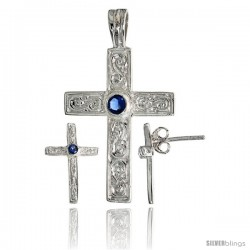 Sterling Silver Swirl-designed Latin Cross Earrings (16mm tall) & Pendant (28mm tall) Set, w/ Bezel Set Brilliant Cut Blue