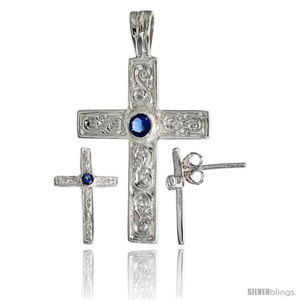 https://www.silverblings.com/17803-thickbox_default/sterling-silver-swirl-designed-latin-cross-earrings-16mm-tall-pendant-28mm-tall-set-w-bezel-set-brilliant-cut-blue.jpg