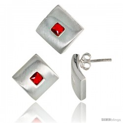 Sterling Silver Matte-finish Square-shaped Earrings (15mm tall) & Pendant Slide (15mm tall) Set, w/ Princess Cut Ruby-colored