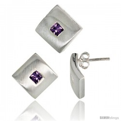 Sterling Silver Matte-finish Square-shaped Earrings (15mm tall) & Pendant Slide (15mm tall) Set, w/ Princess Cut