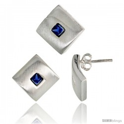 Sterling Silver Matte-finish Square-shaped Earrings (15mm tall) & Pendant Slide (15mm tall) Set, w/ Princess Cut Blue