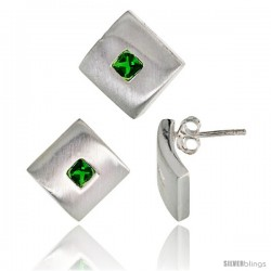 Sterling Silver Matte-finish Square-shaped Earrings (15mm tall) & Pendant Slide (15mm tall) Set, w/ Princess Cut -Style Set54