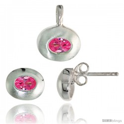 Sterling Silver Matte-finish Oval-shaped Earrings (7mm tall) & Pendant (13mm tall) Set, w/ Oval Cut Pink Tourmaline-colored CZ