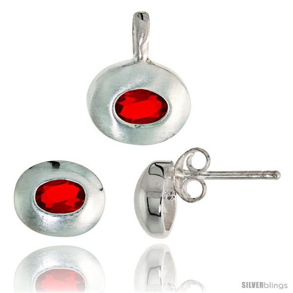 https://www.silverblings.com/17819-thickbox_default/sterling-silver-matte-finish-oval-shaped-earrings-7mm-tall-pendant-13mm-tall-set-w-oval-cut-ruby-colored-cz-stones.jpg