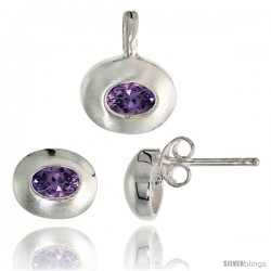 Sterling Silver Matte-finish Oval-shaped Earrings (7mm tall) & Pendant (13mm tall) Set, w/ Oval Cut Amethyst-colored CZ Stones