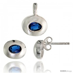 Sterling Silver Matte-finish Oval-shaped Earrings (7mm tall) & Pendant (13mm tall) Set, w/ Oval Cut Blue Sapphire-colored CZ