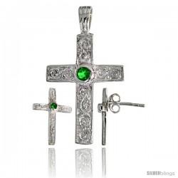 Sterling Silver Swirl-designed Latin Cross Earrings (16mm tall) & Pendant (28mm tall) Set, w/ Bezel Set Bril -Style Set6