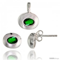 Sterling Silver Matte-finish Oval-shaped Earrings (7mm tall) & Pendant (13mm tall) Set, w/ Oval Cut Emerald-colored CZ Stones
