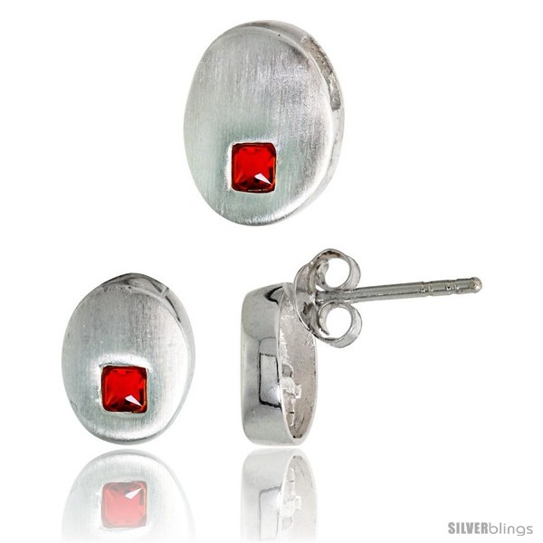 https://www.silverblings.com/17833-thickbox_default/sterling-silver-matte-finish-oval-shaped-earrings-9mm-tall-pendant-slide-11mm-tall-set-w-princess-cut-ruby-colored-cz.jpg