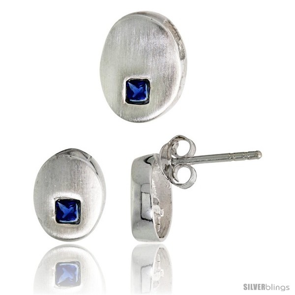 https://www.silverblings.com/17837-thickbox_default/sterling-silver-matte-finish-oval-shaped-earrings-9mm-tall-pendant-slide-11mm-tall-set-w-princess-cut-blue.jpg
