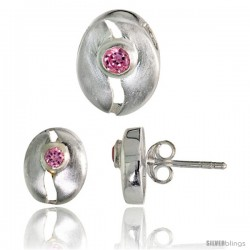 Sterling Silver Matte-finish Cracked Egg Style Earrings (10mm tall) & Pendant Slide (11mm tall) Set, w/ Brilliant Cut Pink