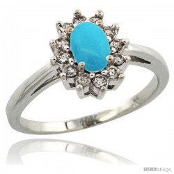 10k White Gold Sleeping Beauty Turquoise Diamond Halo Ring Oval Shape 1.2 Carat 6X4 mm, 1/2 in wide