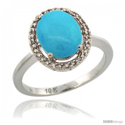 10k White Gold Diamond Sleeping Beauty Turquoise Halo Ring 2.4 carat Oval shape 10X8 mm, 1/2 in (12.5mm) wide