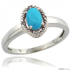 10k White Gold Diamond Halo Sleeping Beauty Turquoise Ring 0.75 Carat Oval Shape 6X4 mm, 3/8 in (9mm) wide