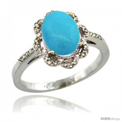 10k White Gold Diamond Halo Turquoise Ring 1.65 Carat Oval Shape 9X7 mm, 7/16 in (11mm) wide