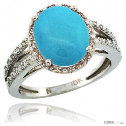 10k White Gold Diamond Halo Sleeping Beauty Turquoise Ring 2.85 Carat Oval Shape 11X9 mm, 7/16 in (11mm) wide