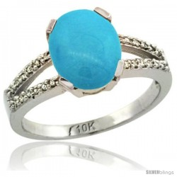 10k White Gold and Diamond Halo Sleeping Beauty Turquoise Ring 2.4 carat Oval shape 10X8 mm, 3/8 in (10mm) wide