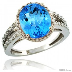 Sterling Silver Diamond Halo Natural Swiss Blue Topaz Ring 2.85 Carat Oval Shape 11X9 mm, 7/16 in (11mm) wide