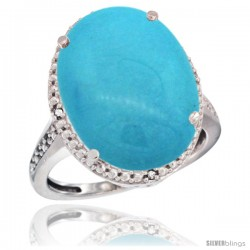 10k White Gold Diamond Sleeping Beauty Turquoise Ring 13.56 Carat Oval Shape 18x13 mm, 3/4 in (20mm) wide